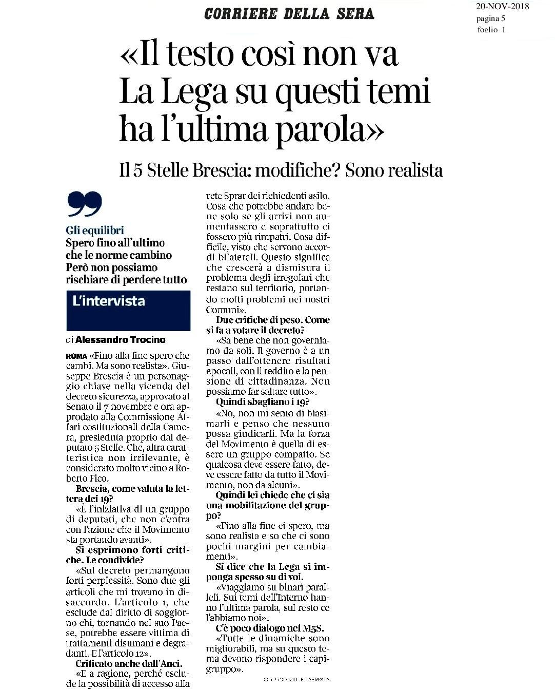 La mia intervista sul decreto sicurezza per il Corriere della Sera - M5S notizie m5stelle.com
