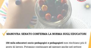 Manovra, Senato conferma norma per educatori