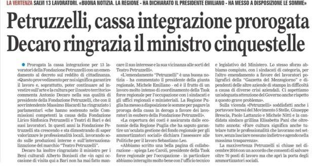 Petruzzelli, cassa integrazione prorogata grazie al MoVimento Cinque Stelle