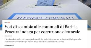 Comunali di Bari, consiglieri eletti con voto di scambio si autodenuncino