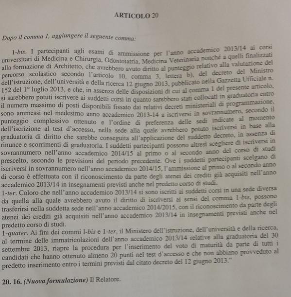 L'emendamento approvato in Commissione